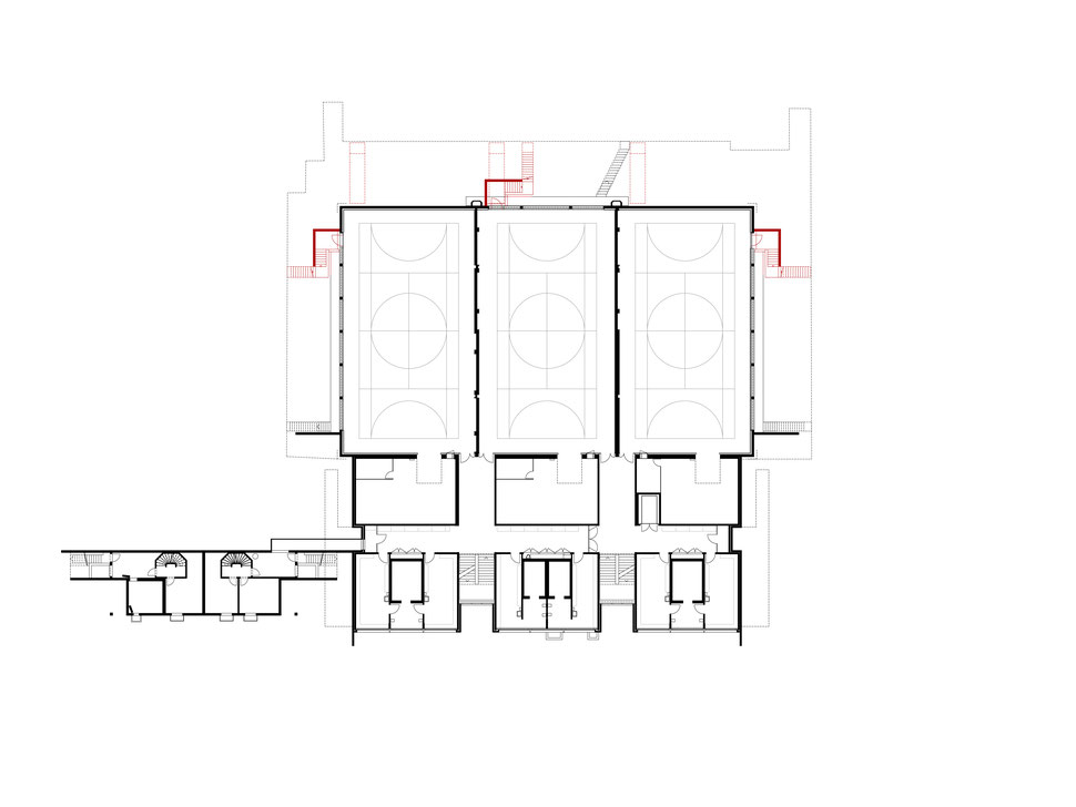 Hopf & Wirth Architekten ETH HTL SIA Winterthur, Erweiterung Turnhallen Berufsbildungsschule Winterthur BBW, Grundriss 1. Untergeschoss