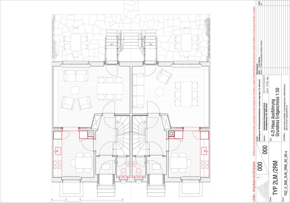 Familienheim Genossenschaft Zürich, Hopf & Wirth Architekten, Etappe 14, Bernhard-Jäggiweg, Typ 2: 4-Zimmer Haus, Grundriss Erdgeschoss