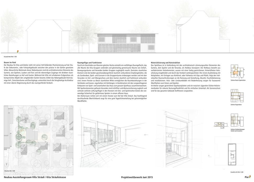 Hopf & Wirth Architekten ETH HTL SIA Winterthur, Wettbewerb Kita und Ausstellungsraum Villa Sträuli, Winterthur