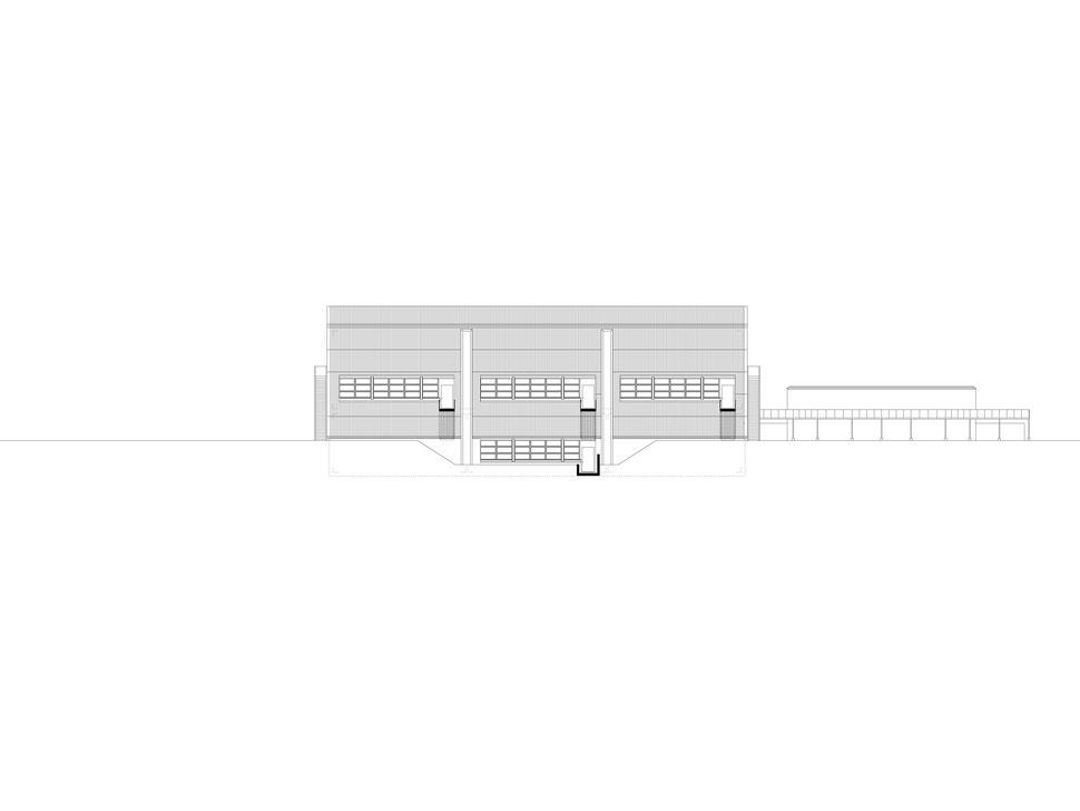 Hopf & Wirth Architekten ETH HTL SIA Winterthur, Erweiterung Turnhallen Berufsbildungsschule Winterthur BBW, Nordfassade