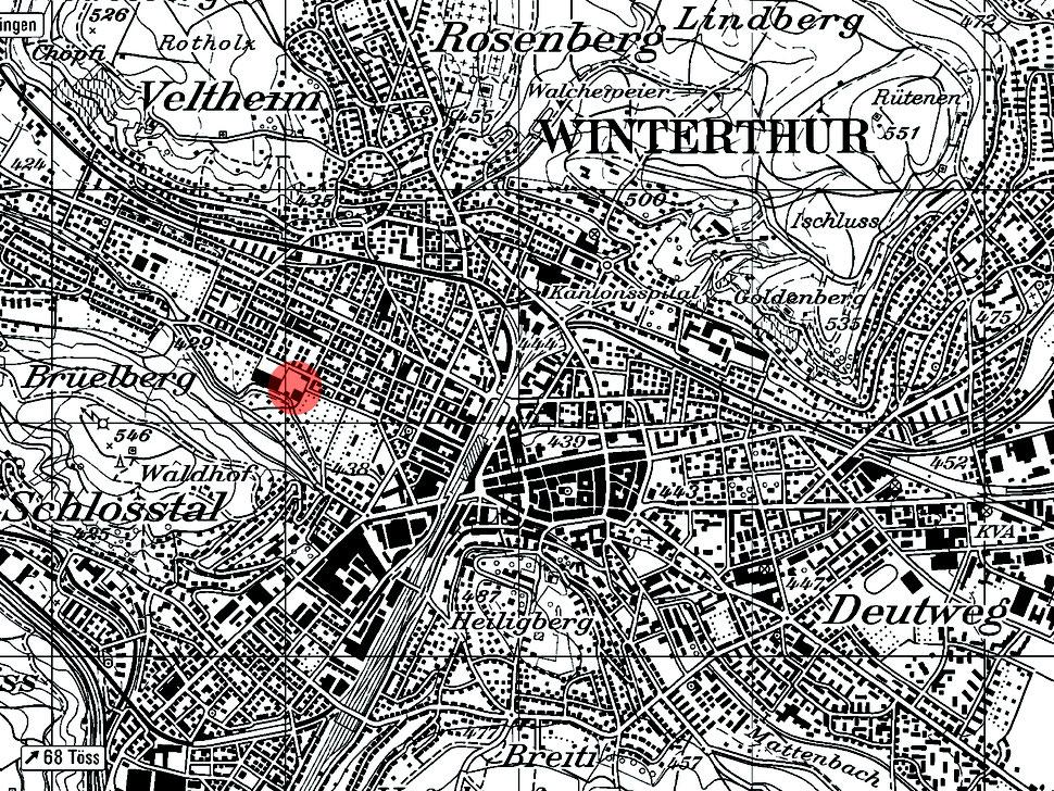 Hopf & Wirth Architekten ETH HTL SIA Winterthur, Erweiterung Turnhallen Berufsbildungsschule Winterthur BBW, Situation