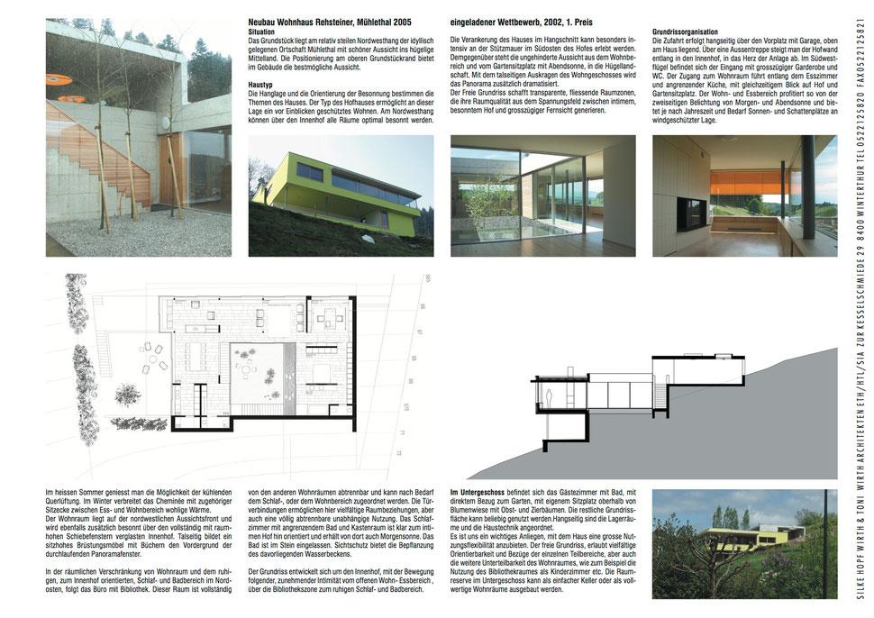 Hopf & Wirth Architekten EHT HTL SIA Winterthur, Neubau Einfamilienhaus in Mühlethal, Zofingen AG