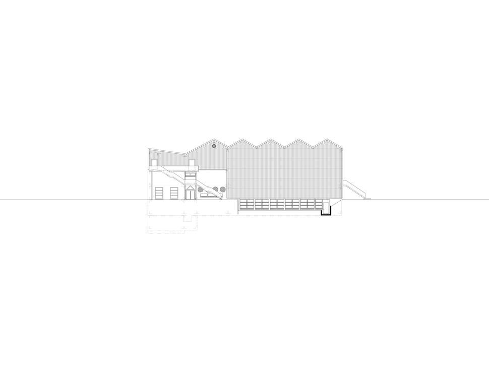 Hopf & Wirth Architekten ETH HTL SIA Winterthur, Erweiterung Turnhallen Berufsbildungsschule Winterthur BBW, Ostfassade