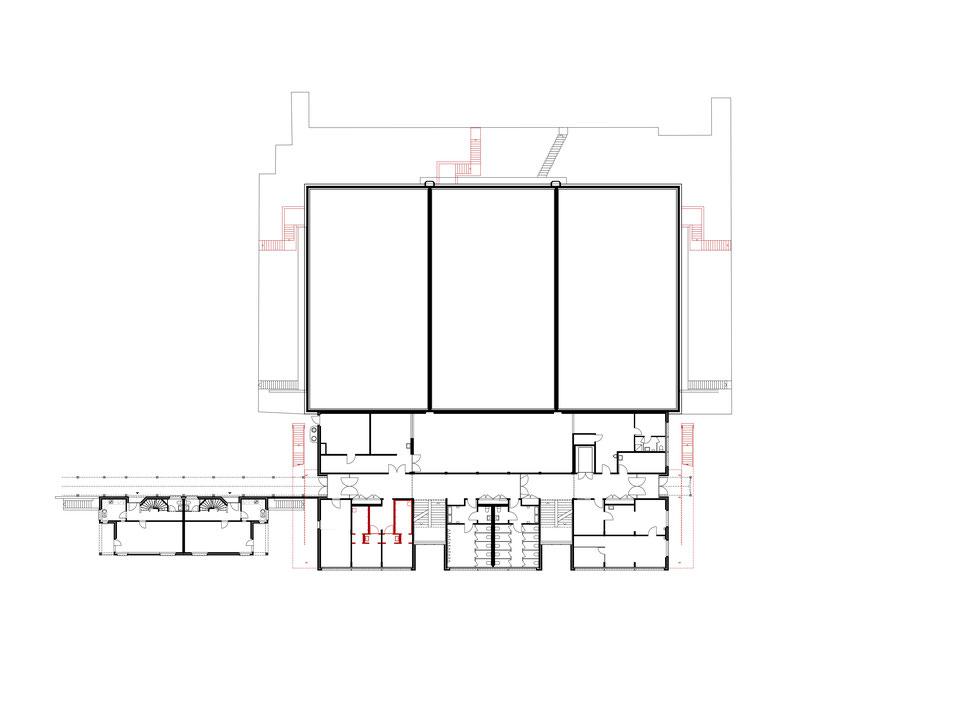 Hopf & Wirth Architekten ETH HTL SIA Winterthur, Erweiterung Turnhallen Berufsbildungsschule Winterthur BBW, Grundriss Erdgeschoss