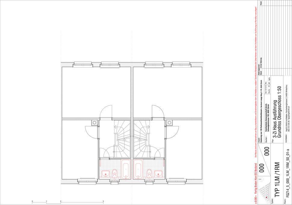 Familienheim Genossenschaft Zürich, Hopf & Wirth Architekten, Etappe 14, Bernhard-Jäggiweg, Typ 1: 3-Zimmer Haus, Grundriss Obergeschoss