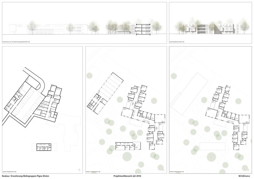 Hopf & Wirth Architekten ETH HTL SIA Winterthur, Wettbewerb Neubau / Erweiterung Wohngruppen Pigna, Kloten