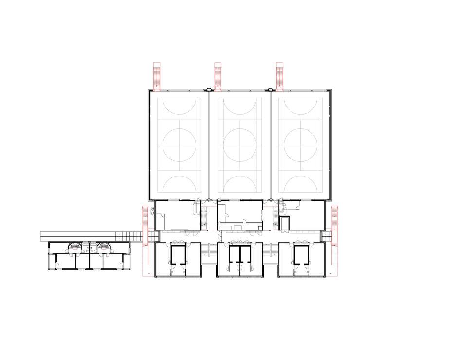 Hopf & Wirth Architekten ETH HTL SIA Winterthur, Erweiterung Turnhallen Berufsbildungsschule Winterthur BBW, Grundriss 1. Obergeschoss