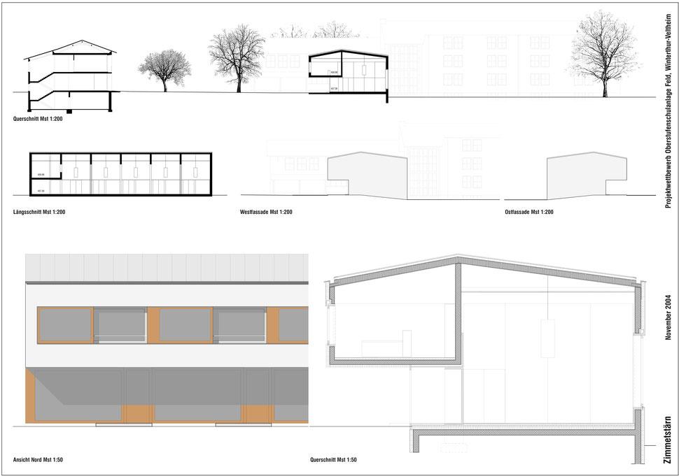 Hopf & Wirth Architekten ETH HTL SIA Winterthur, Wettbewerb Neubau Erweiterung Schulanlage Feld, Winterthur