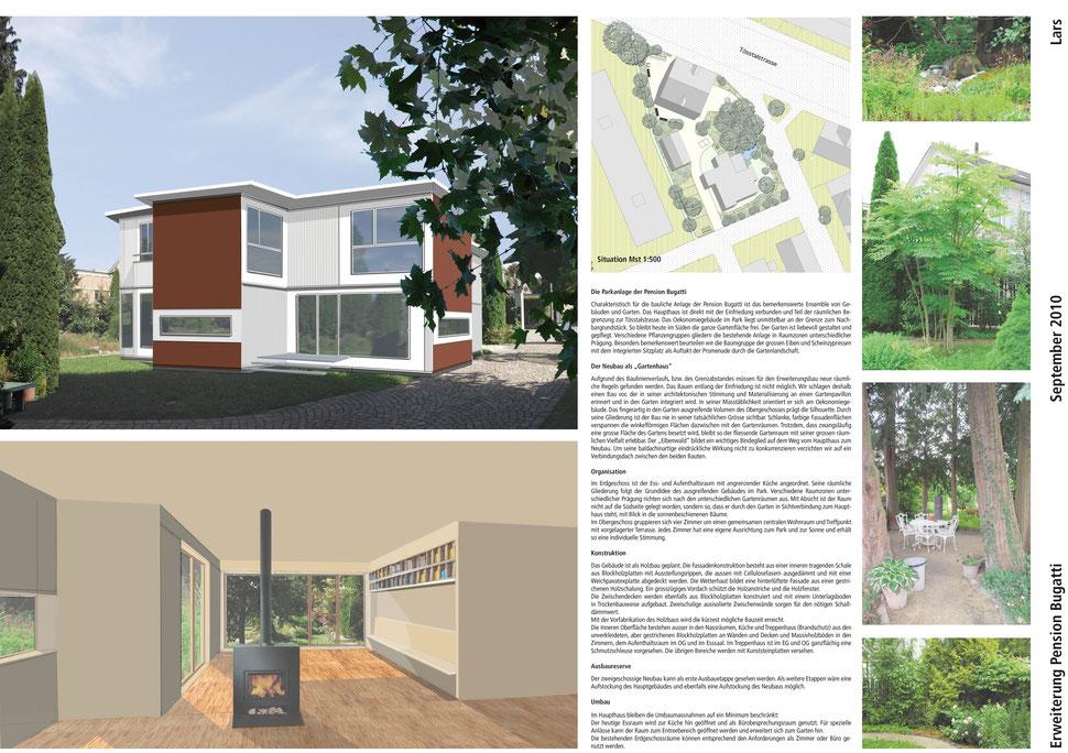Hopf & Wirth Architekten ETH HTL SIA Winterthur, Wettbewerb Erweiterung Pension Bugatti