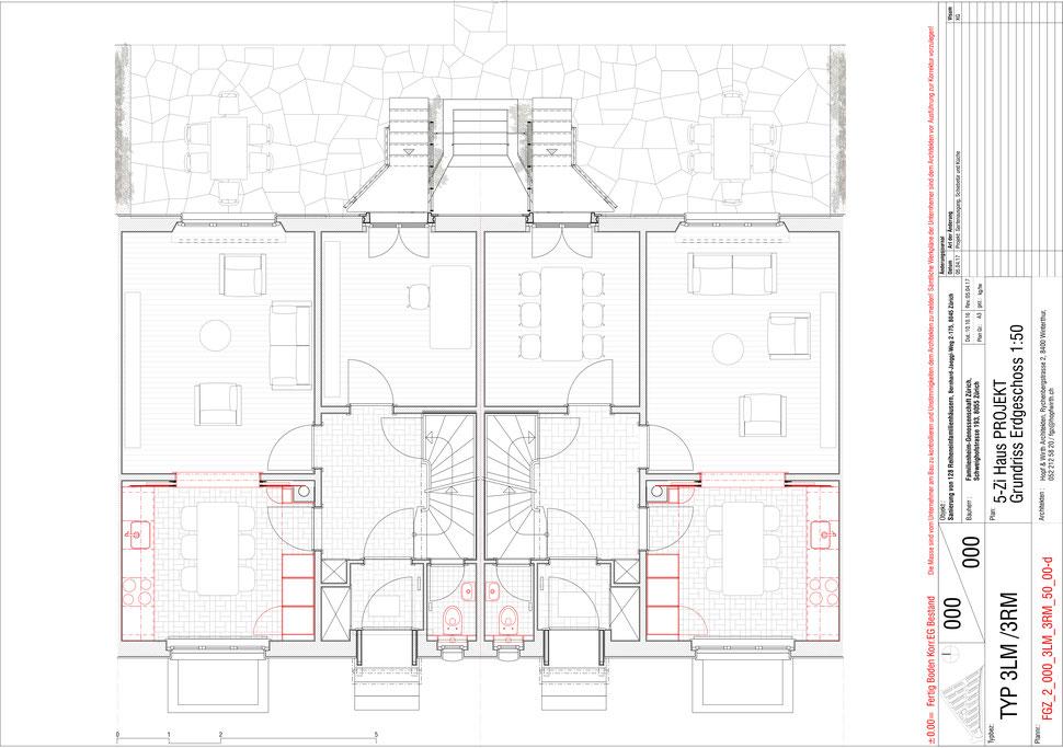 Familienheim Genossenschaft Zürich, Hopf & Wirth Architekten, Etappe 14, Bernhard-Jäggiweg, Typ 3: 5-Zimmer Haus, Grundriss Erdgeschoss
