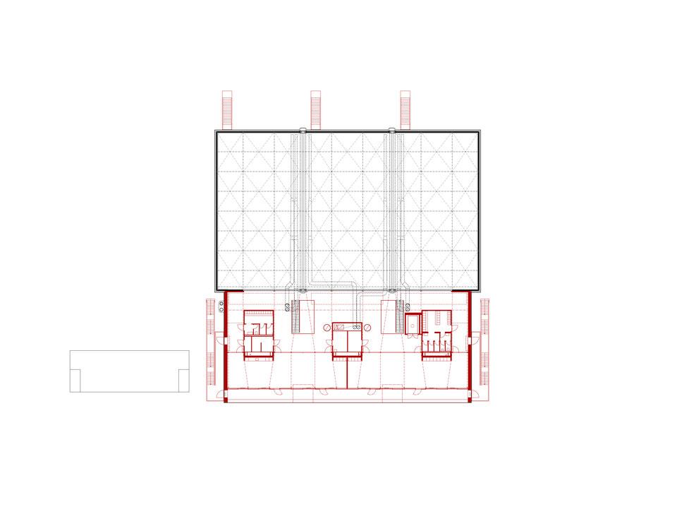 Hopf & Wirth Architekten ETH HTL SIA Winterthur, Erweiterung Turnhallen Berufsbildungsschule Winterthur BBW, Grundriss 2. Obergeschoss