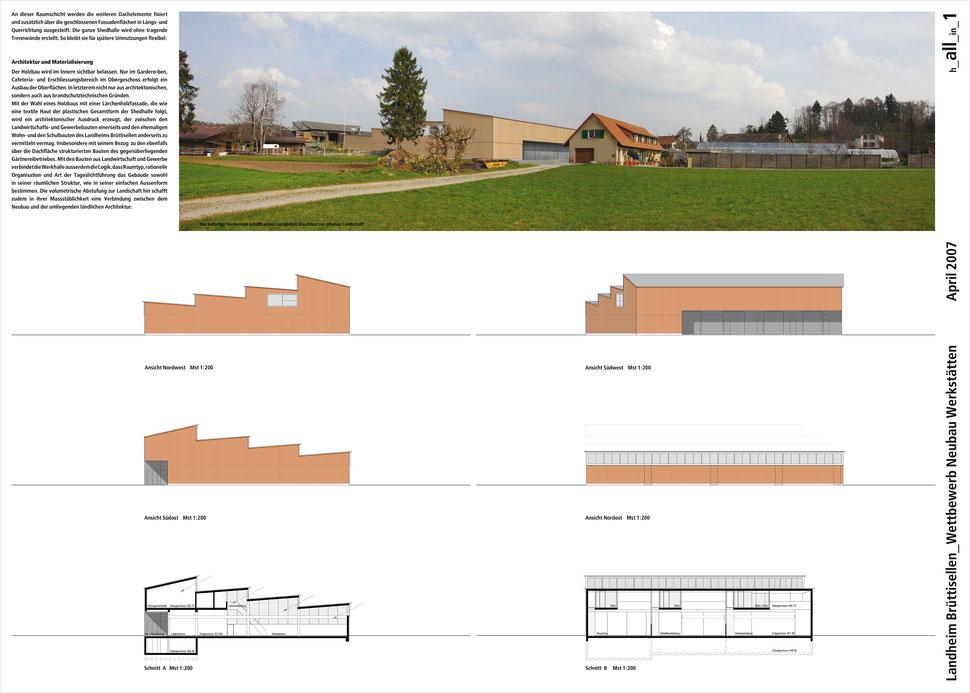Hopf & Wirth Architekten ETH HTL SIA Winterthur, Wettbewerb Neubau Werkstattgebäude Landheim Brüttisellen