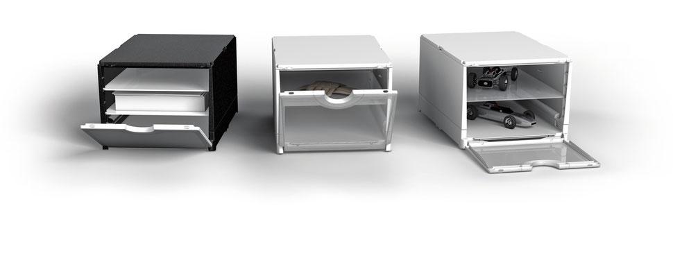 Schuhboxen stapelbare klappboxen top design schuhboxen for Kipp schuhschrank weiss