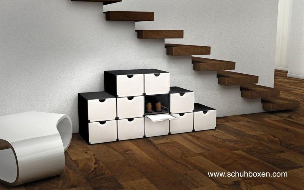 Schuhboxen.com Schuhkisten mit Schuhen, Schuhbox-schwarz - Schuhboxfront mit Klappe und Griffmulde in weiß