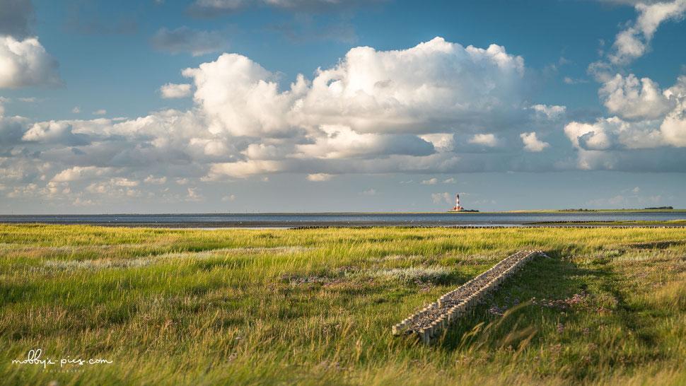 westerhever leuchtturm, westerheversand, salzwiesen, nordsee, wattenmeer, tümmlauer bucht