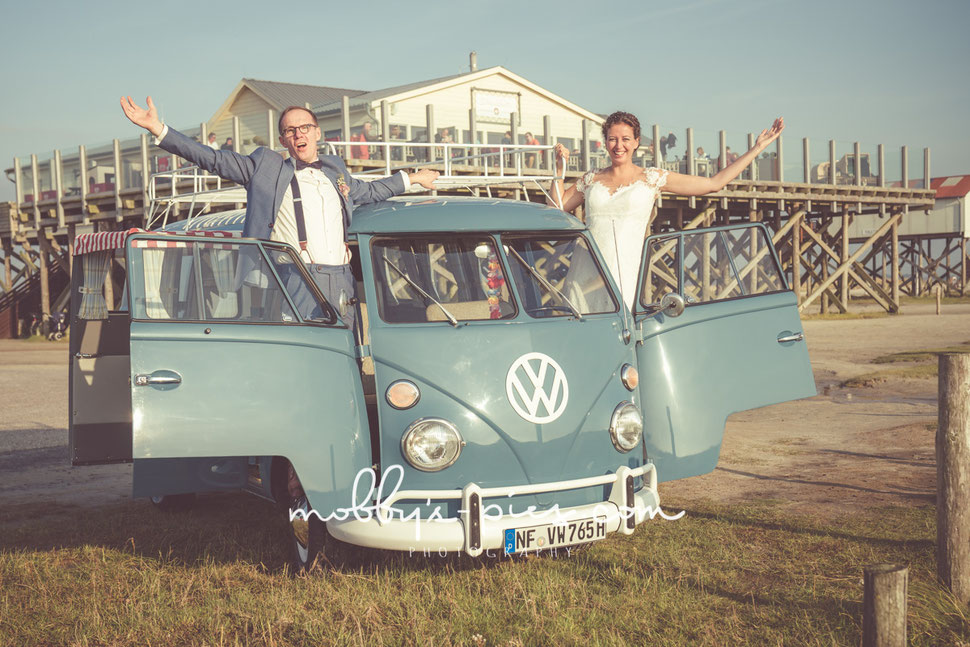 Heiraten, pfahlbau, st. peter-ording, hochzeit, paar, vw buss, bulli, axels strandhütte