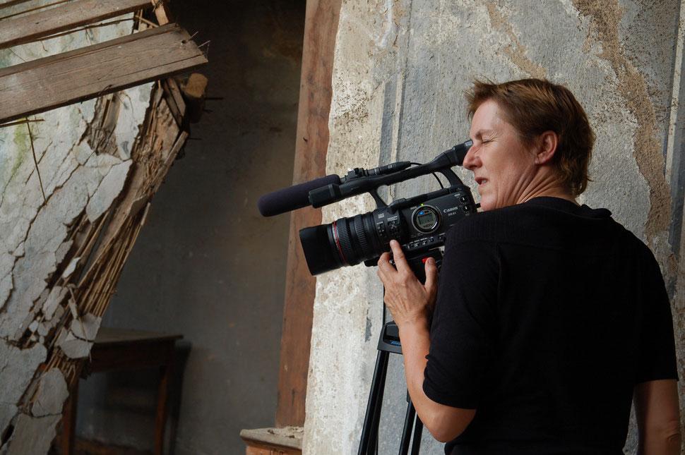Ute Badura bei den Dreharbeiten, Foto: Ellen Röhner