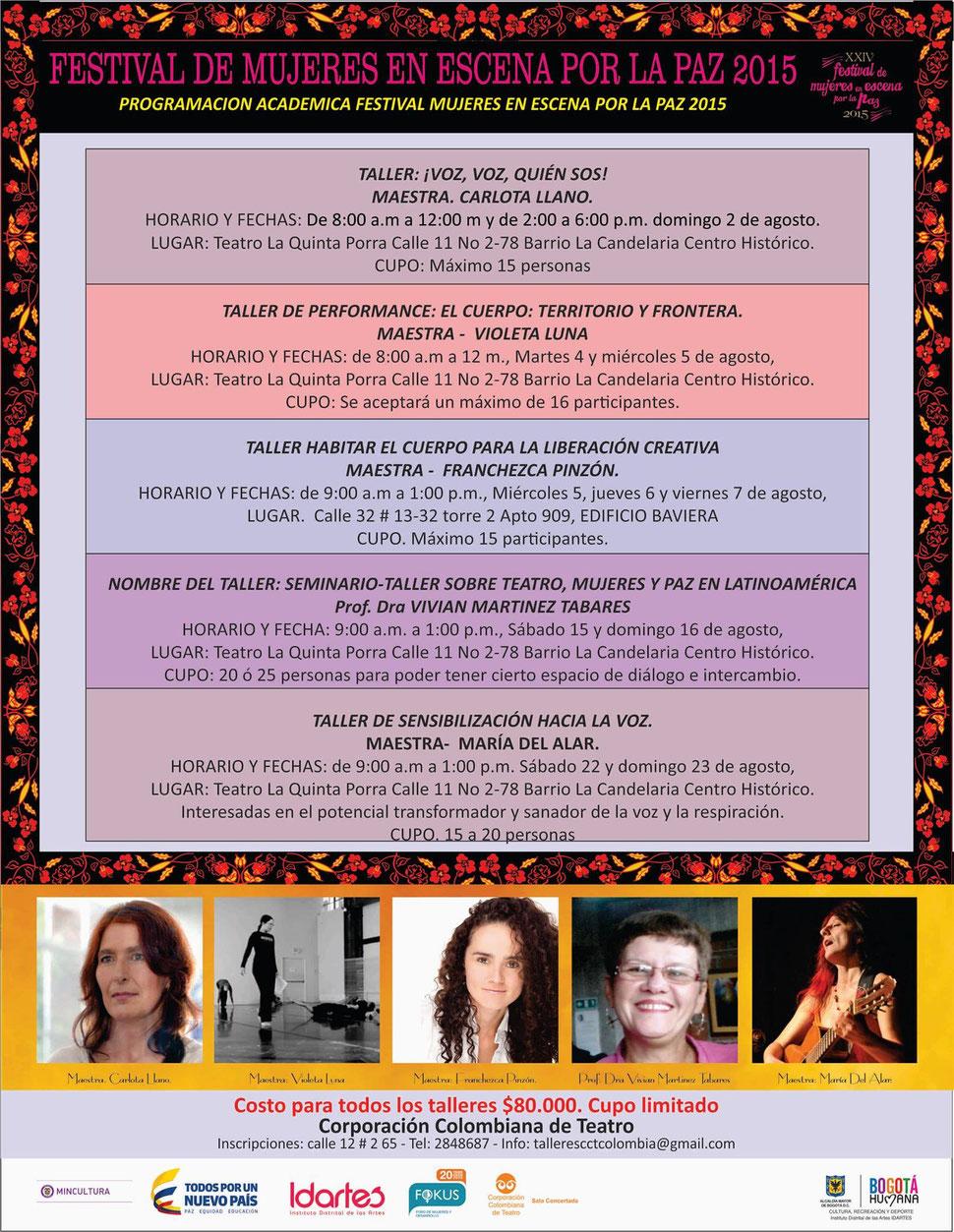 Talleres en el Festival de Mujeres en escena por la Paz