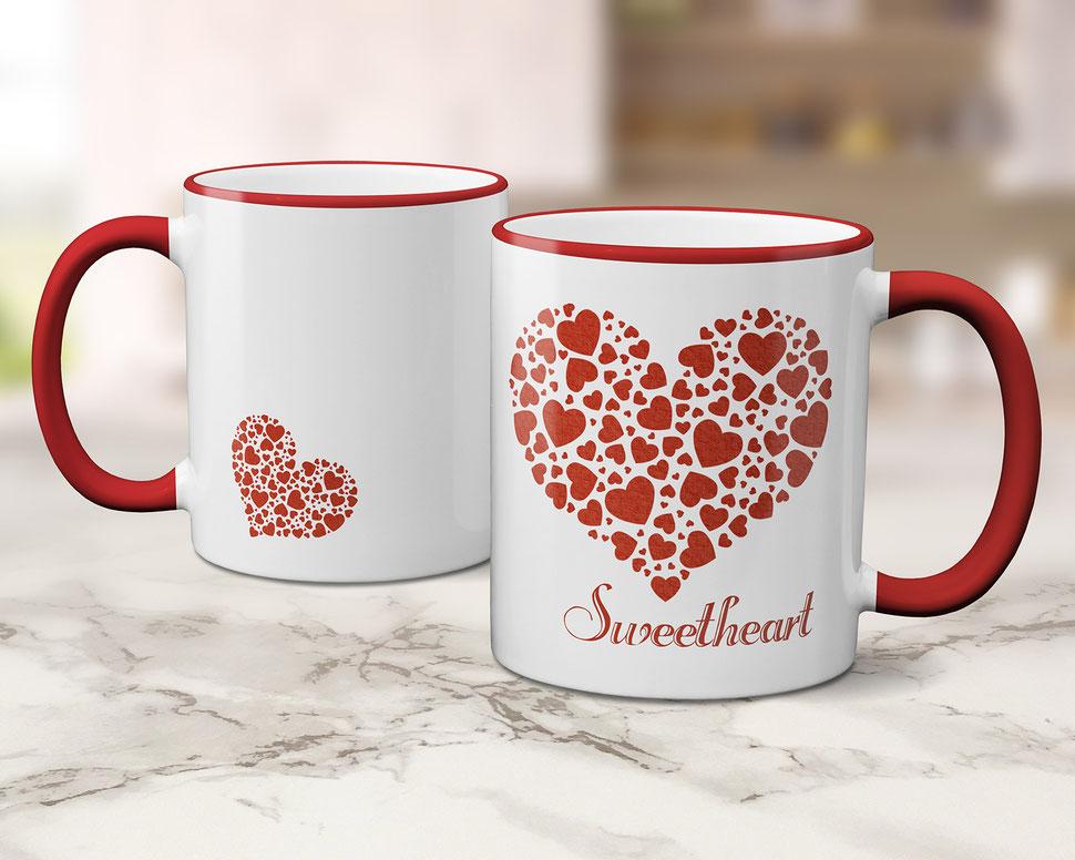 Tasse Kaffeebecher bedruckt mit Herzen