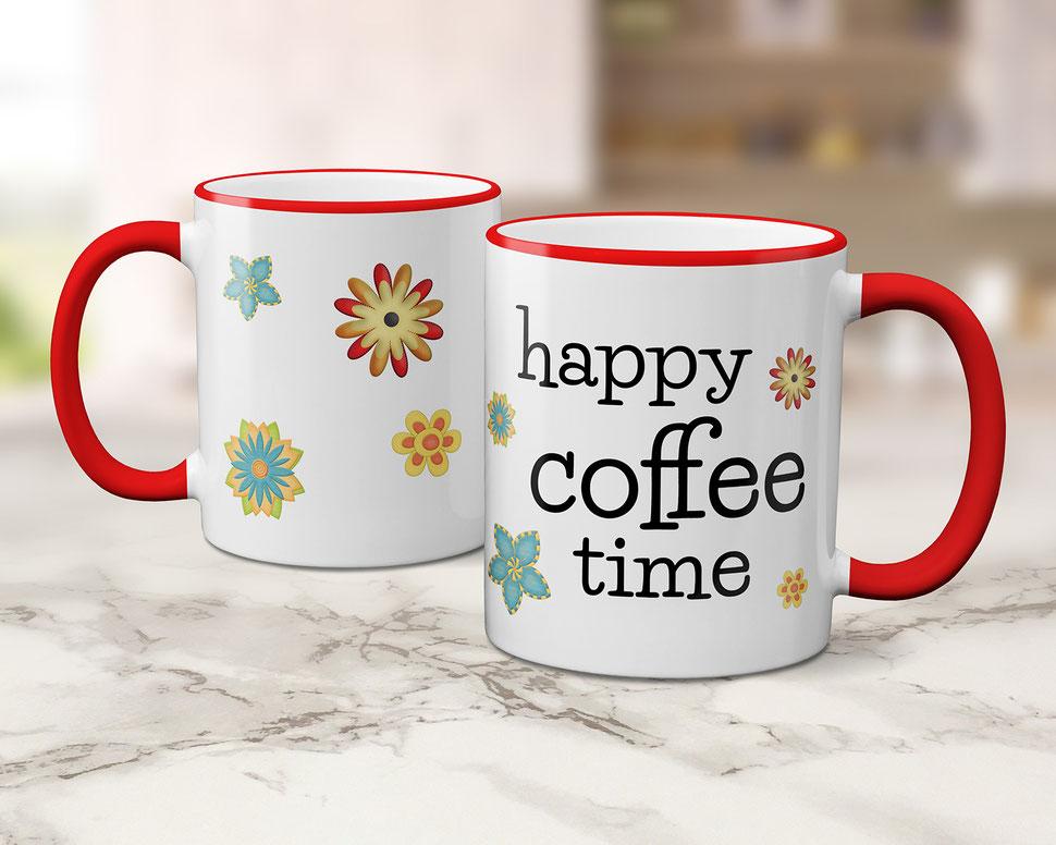 Geschenkidee bedruckte Tasse happy coffee time