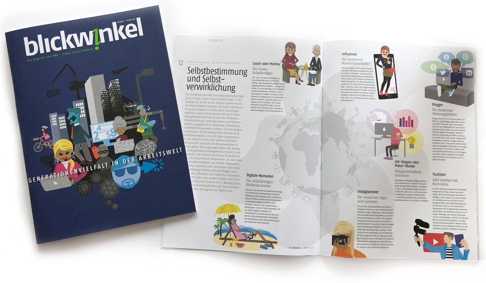 Illustration von Anja Piffaretti, creative-island.ch: Generationenvielfalt, Arbeitsplatz, Arbeitszeitmodelle, neues Timemanagement