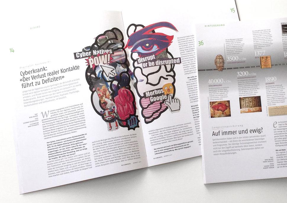 Illustration von Anja Piffaretti, creative-island.ch: Cyberkrank, Cybereinflüsse, Cyberfolgen