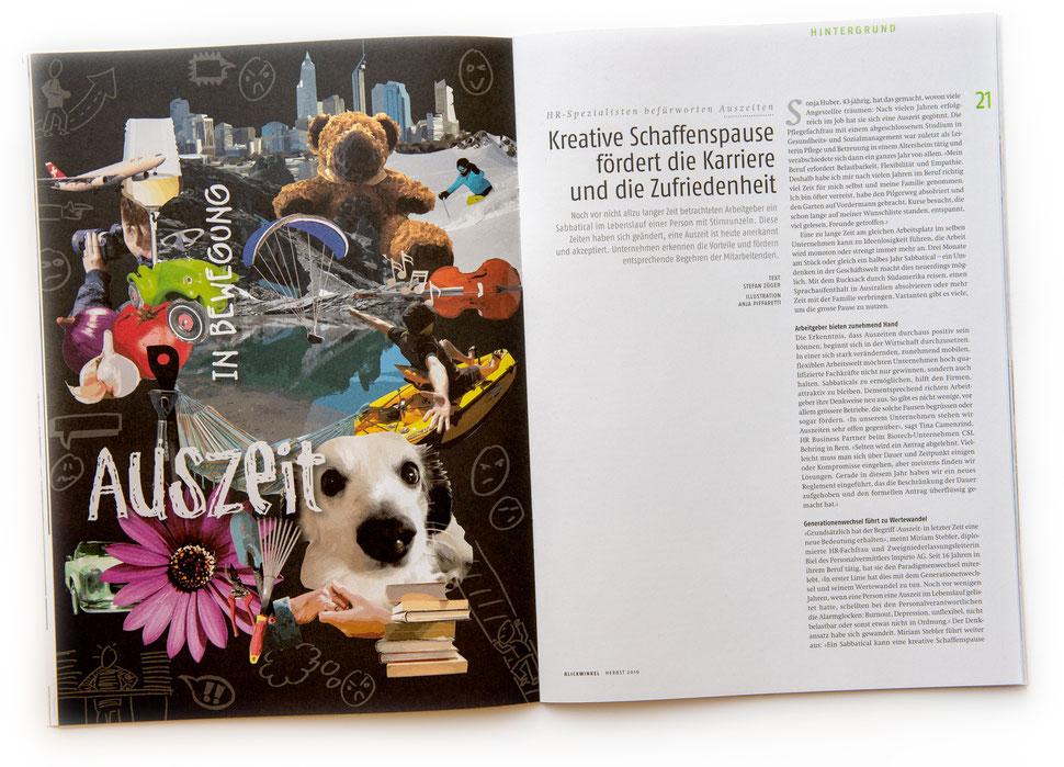 Illustration von Anja Piffaretti, creative-island.ch: Auszeit, Schaffenspause, Karriere, Pause