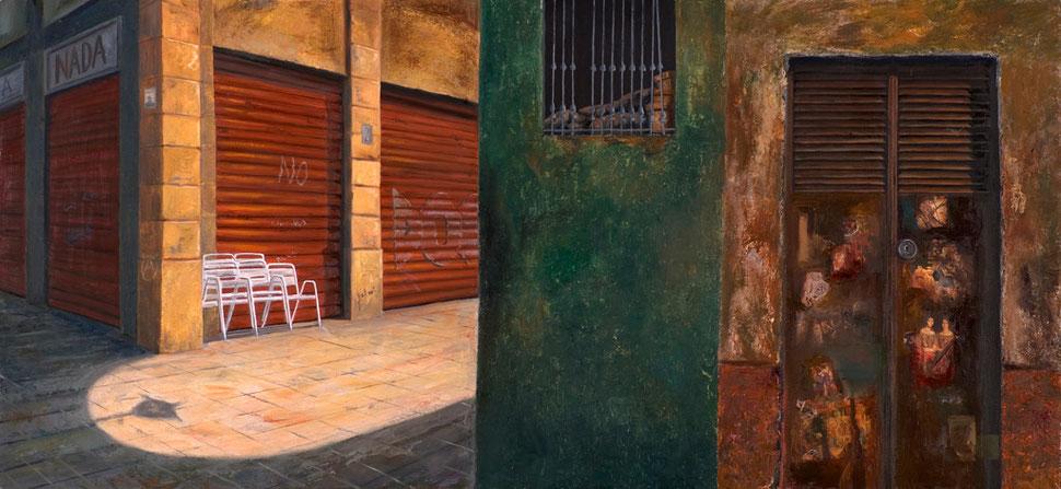 Huellas-4, (Nada) 2006, óleo sobre madera 60X132 cm