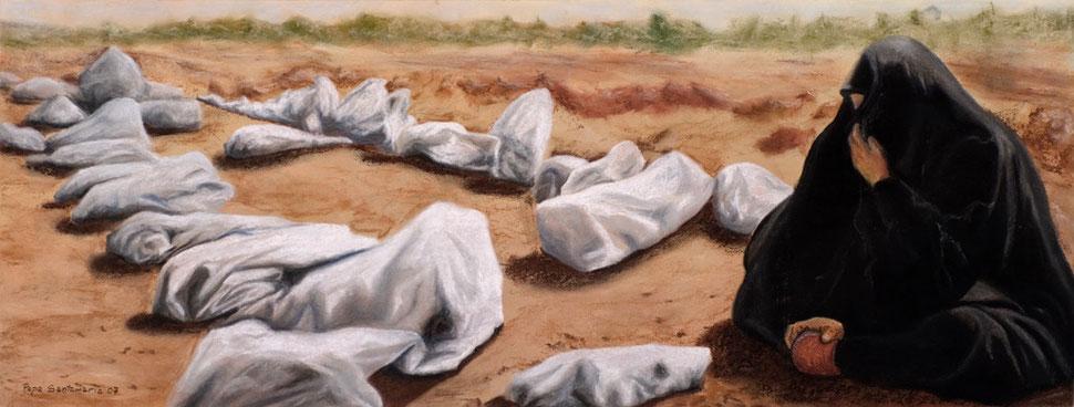 Montículos I, 2007, pastel 38X96.5 cm