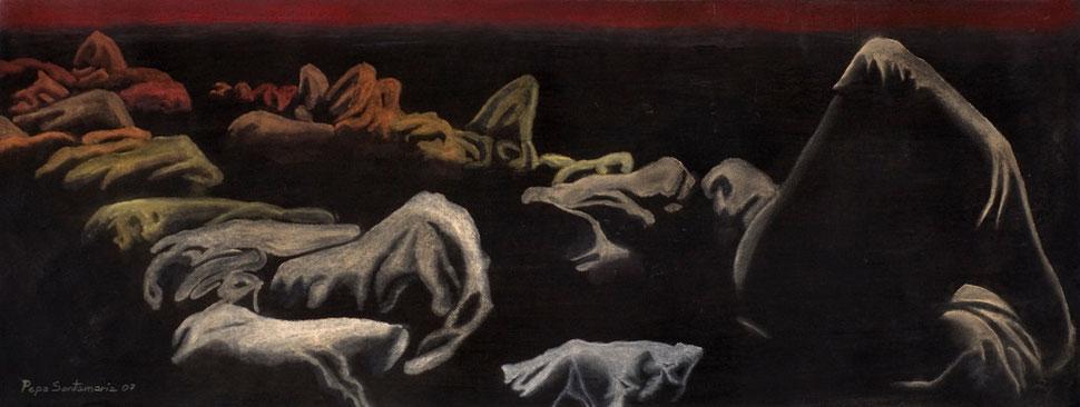 Montículos III, 2007, pastel 38X96.5 cm