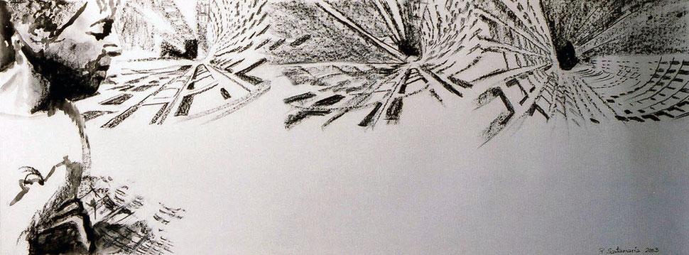 Soledades I, 2003, carboncillo y pastel 96.5X38 cm