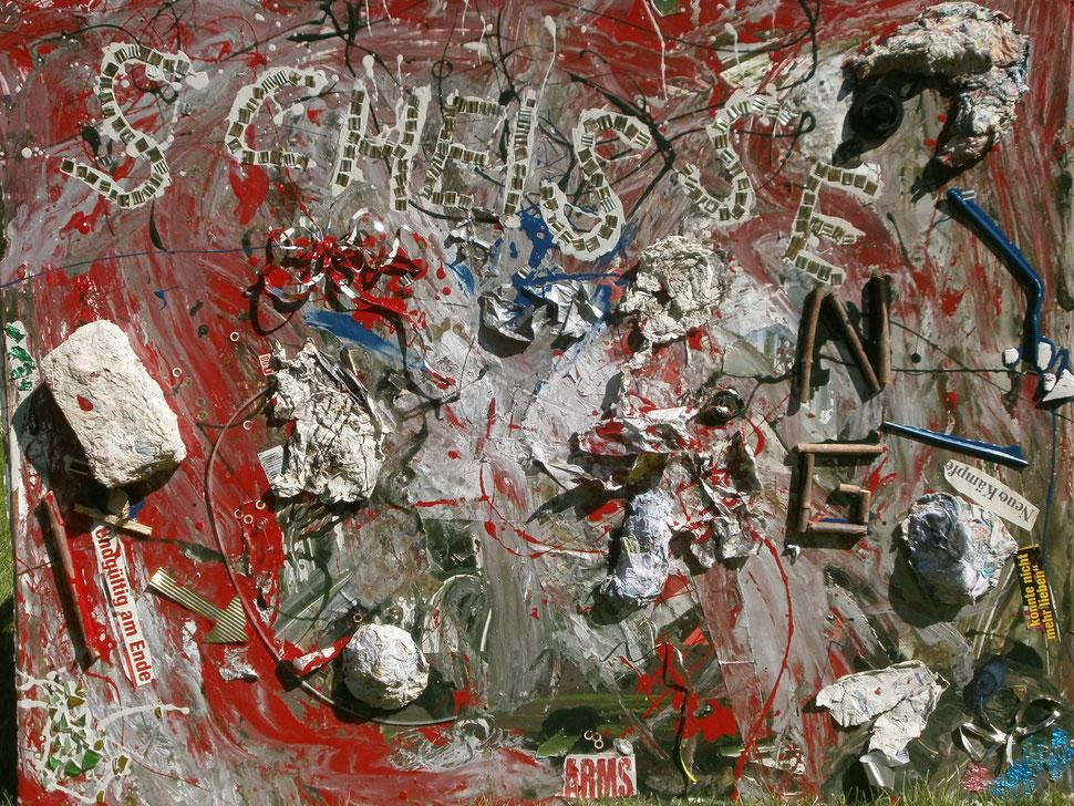 """Werk: SCHEISSE ENG / Künstler: Carsten Behm / Entstehungsjahr: 2014 / Aktuell in der Sammelausstellung """"Kunstfenster"""" an der Hauptstraße in Vechelde zu sehen /"""