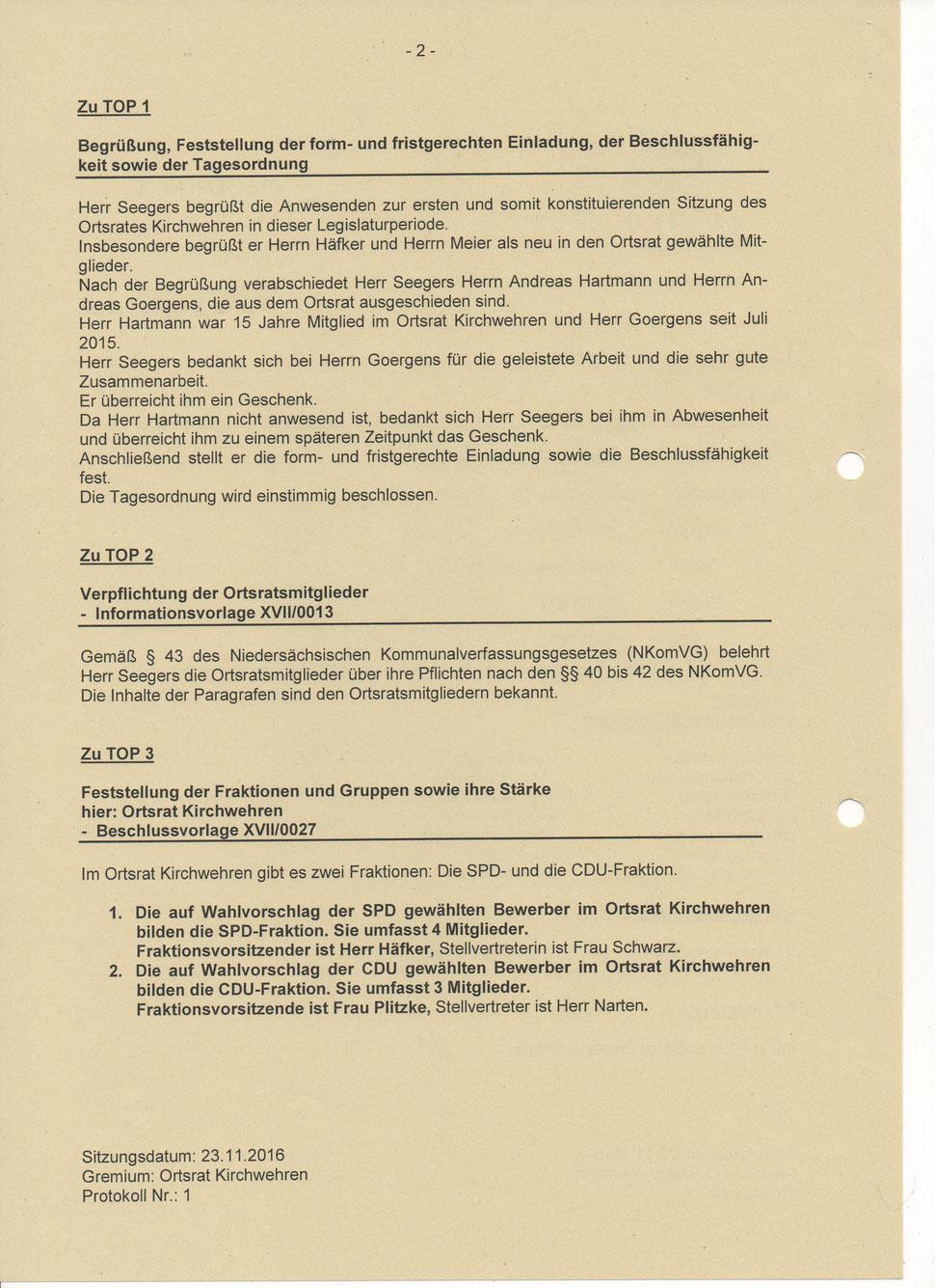 Protokoll der Sitzung vom 01. November 2017 - Kirchwehren