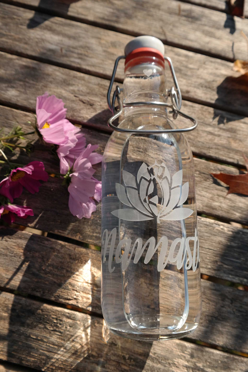 lotusstand , plastikfrei , trinkflasche , glasflasche , bügelverschluss , nachhaltig , freiglas