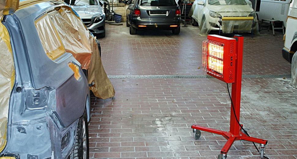 Mobiler Infrarot Heizstrahler für arbeitsplatz und zum Trocknen