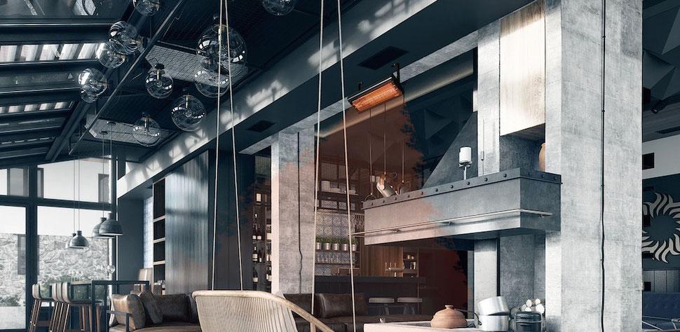 Wärme durch TANSUN Infrarot-Heizstrahler in einem Wohn/Koch/Loungebereich
