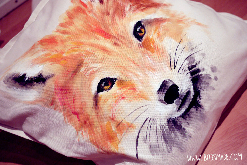 Bobsmade painted pillow fox