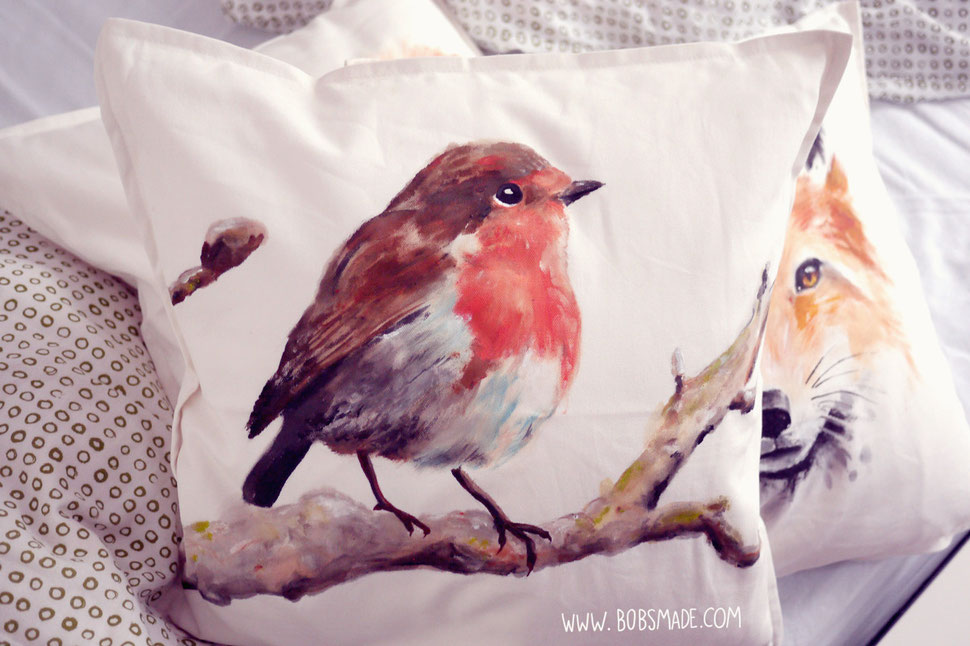 Bobsmade painted pillow robin Rotkehlchen Kissen