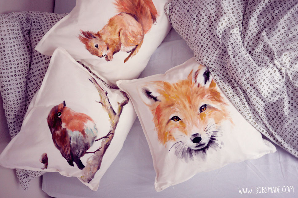 Bobsmade painted pillow robin squirrel fox