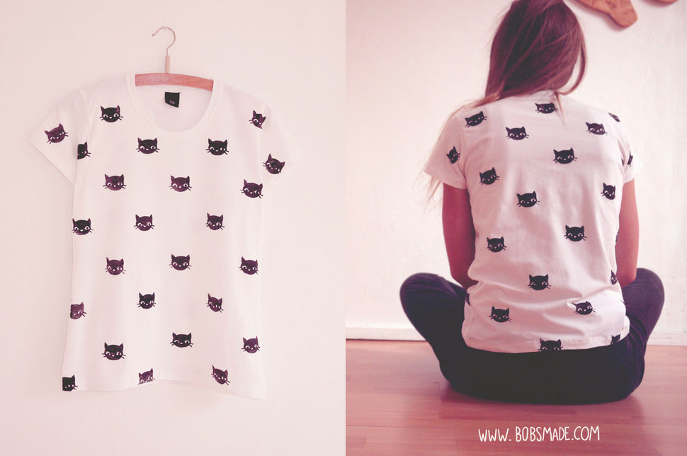 Hand print cat pattern Shirt
