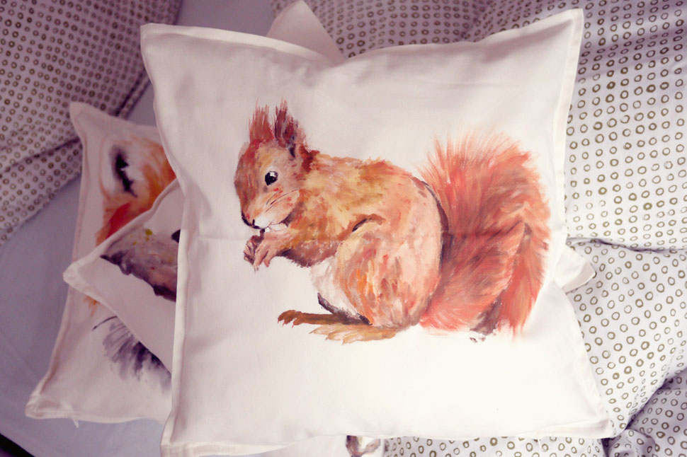 Bobsmade painted pillow squirrel