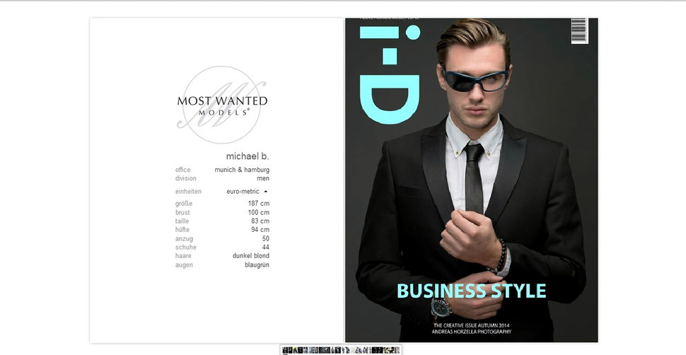 Sedcard Michael Bauer Most Wanted Models  - Teamwork: Andreas Horzella (LightIndustries Photographics) / Munich Faces