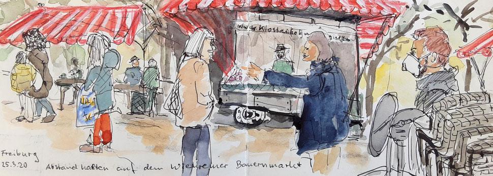 Freiburger Stadtleben mit Abstand und Maske (2020)