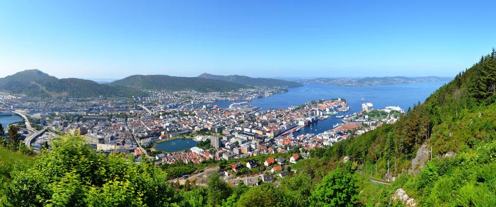 Blick auf Bergen vom Hausberg Floyen