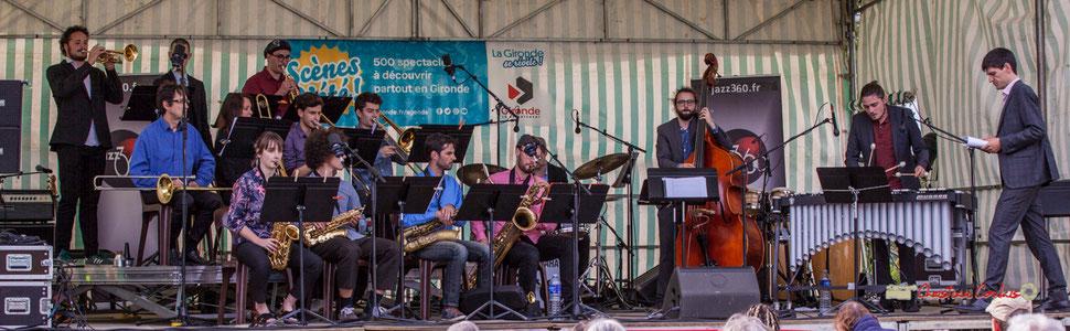 Sous la direction de Mathieu Tarot, le Big Band Jazz du Conservatoire à rayonnement régional de Bordeaux Jacques Thibaud; Festival JAZZ360 2019, Parc du Château de Pomarède, Langoiran. Jeudi 6 juin 2019.