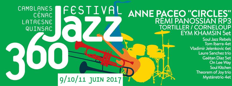 Les 9, 10, 11 juin 2017, huitième Festival JAZZ360. Graphisme Ulysse Badorc