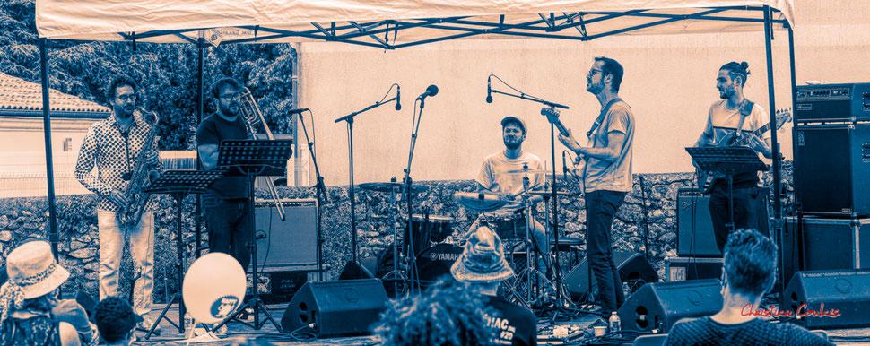 Festival JAZZ360 2021. Cissy Street : Vincent Périer, Simon Girard, Hugo Crost, Francis Larue, Noé Berne. Dimanche 6 juin 2021, Quinsac. Photographie © Christian Coulais
