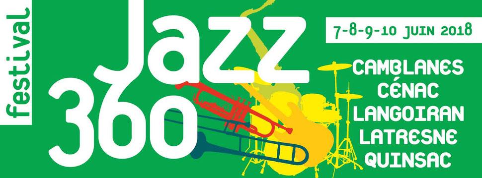 Neuvième Festival JAZZ360 2018. Bandeau avec les communes. Création graphique : Ulysse Badorc