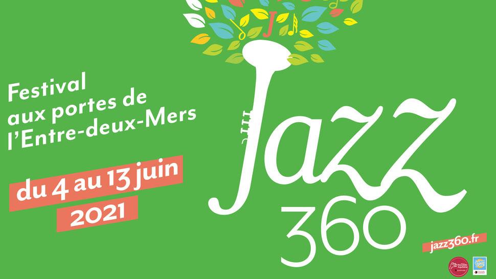 Bandeau officiel Festival JAZZ360 2021, du 4 au 13 juin 2021. Graphiste : Ulysse Badorc