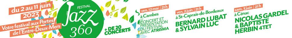 Bandeau Festival JAZZ360 2020, du jeudi 4 juin au dimanche 14 juin 2020. Graphisme : Ulysse Badorc